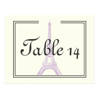 Paris wedding purple Eiffel Tower table number Postcard