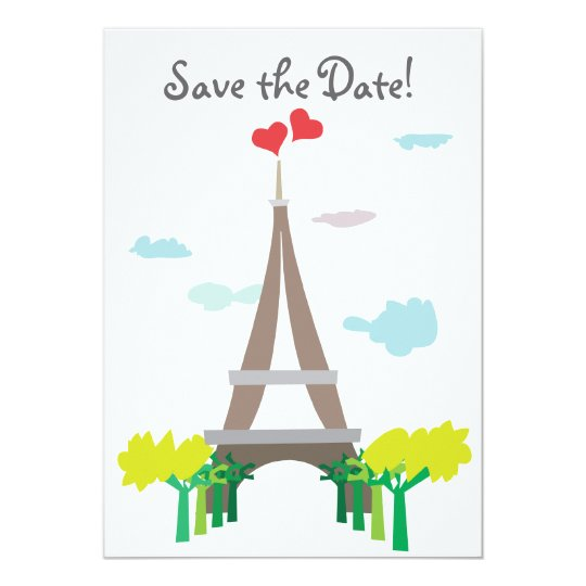 Paris Wedding Save the Wedding Date Cards