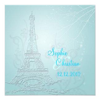 "Paris, winter wedding  invitations 5.25"" square invitation card"
