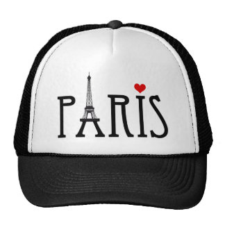 Paris with Eiffel tower and red heart Cap
