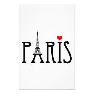 Paris with Eiffel tower and red heart Stationery