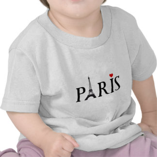 Paris with Eiffel tower and red heart Tee Shirts