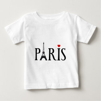 Paris with Eiffel tower and red heart T Shirt