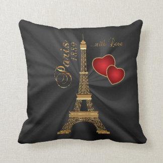 Paris with Love in Metallic Gold Throw Cushion