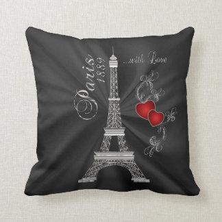 Paris with Love in Metallic Silver Throw Cushion