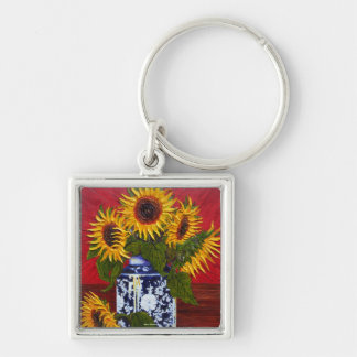Paris' Yellow Sunflower on Red Background Silver-Colored Square Key Ring