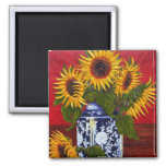Paris' Yellow Sunflower on Red Background Square Magnet