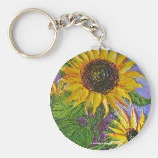 Paris' Yellow Sunflowers Basic Round Button Key Ring