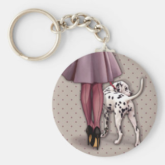 Parisian and its Dalmatian in walk Key Ring