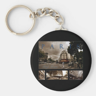 Parisian Cafe Scene Basic Round Button Key Ring