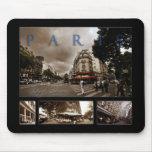 Parisian Cafe Scene Mouse Pads