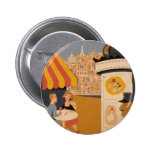 Parisian Cafe Travel Poster Round Button