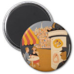 Parisian Cafe Travel Poster Round magnet