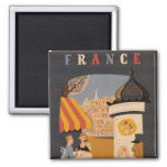 Parisian Cafe Travel Poster Square Magnet