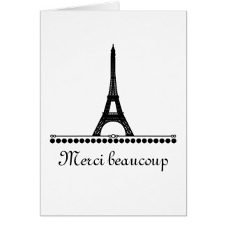 Parisian Chic Thank You Card, Black Card