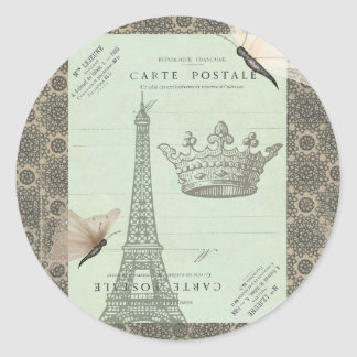Parisian Collage Classic Round Sticker