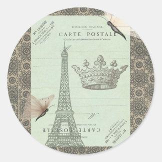 Parisian Collage Round Sticker