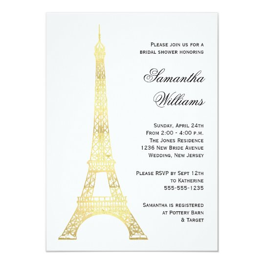Parisian Eiffel Tower Gold Bridal Shower Card