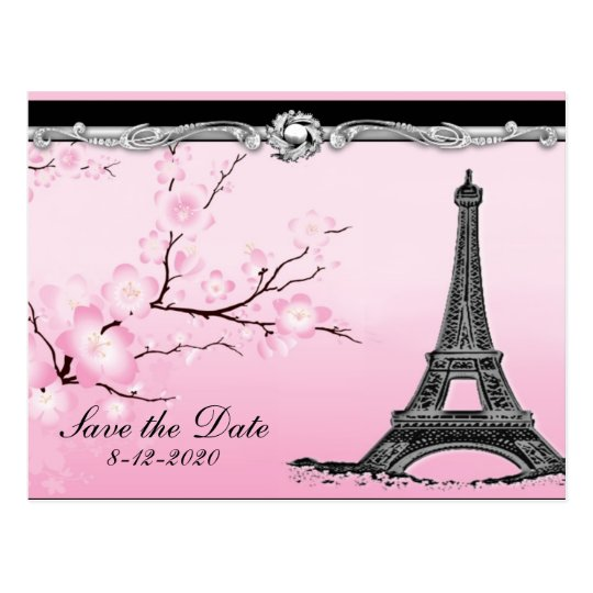 Parisian Eiffel Tower Wedding Save the Date Cards