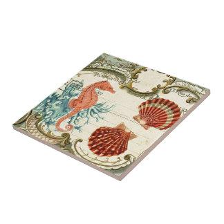 Parisian french modern vintage seashell seahorse tile
