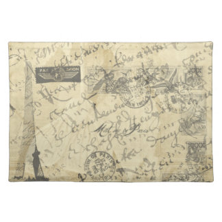 Parisian French script with French postage placema Placemat