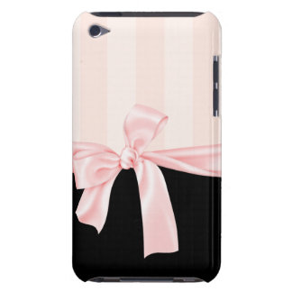 Parisian Girly Pink Stripes & Light Pink Bow Barely There iPod Cases