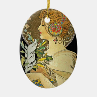 Parisian Lady and Feather 1899 Christmas Ornament