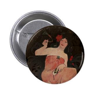 Parisian Lady on Black 6 Cm Round Badge