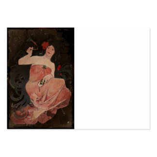 Parisian Lady on Black Pack Of Chubby Business Cards