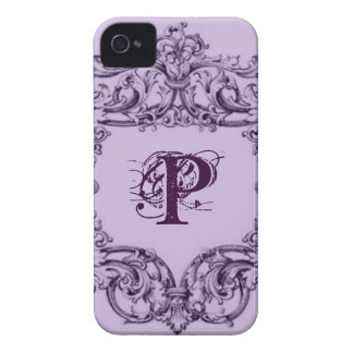 PARISIAN PURPLE BAROQUE FRAME WITH INITIAL iPhone 4 CASE