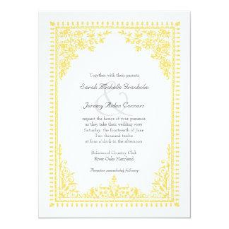 Parisian Scroll Affordable Yellow Wedding 14 Cm X 19 Cm Invitation Card