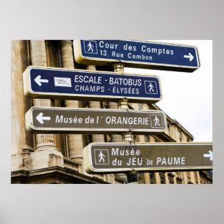 Parisian Street Signs Poster