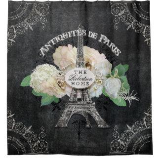 Parisian Vintage Antique Floral Paris Eiffel Tower Shower Curtain