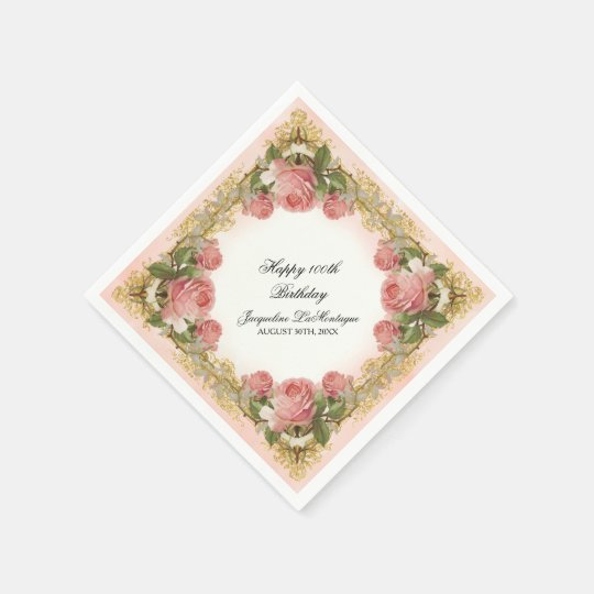 Parisian Vintage Rose Manor House Birthday Party Disposable