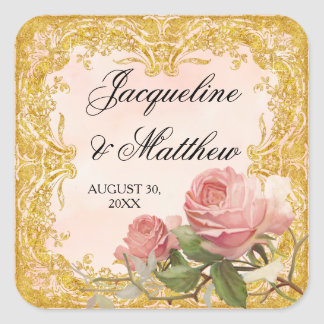 Parisian Vintage Rose Manor House Formal Wedding Square Sticker