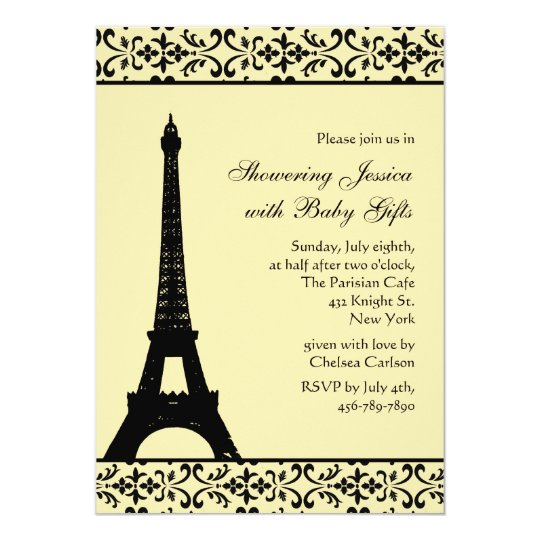Parisian Yellow Baby Shower Invitation