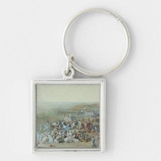 Parisians at the Champ de Mars Silver-Colored Square Key Ring
