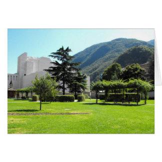 Park and mountain at Bolzano in Italy Greeting Card