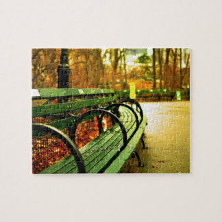 Park Bench Central Park in Fall Jigsaw Puzzle