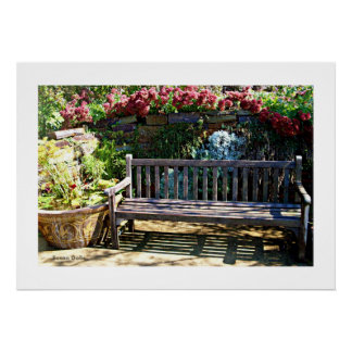 Park Bench Garden Poster Posters