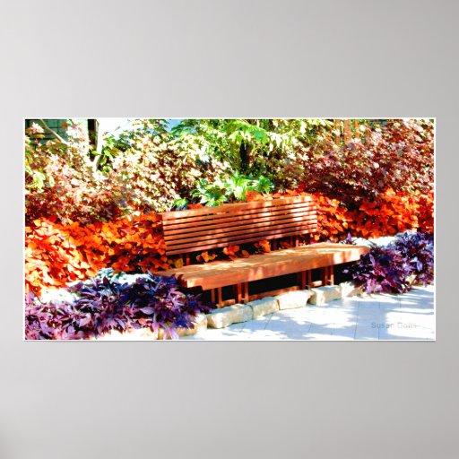 Park Bench in Botanical Garden Poster Poster