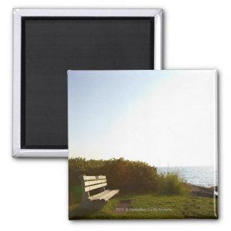 Park bench overlooking Atlantic Ocean Magnet