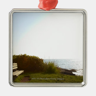 Park bench overlooking Atlantic Ocean Silver-Colored Square Decoration