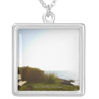 Park bench overlooking Atlantic Ocean Silver Plated Necklace