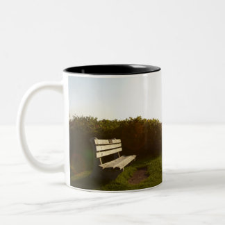 Park bench overlooking Atlantic Ocean Two-Tone Coffee Mug