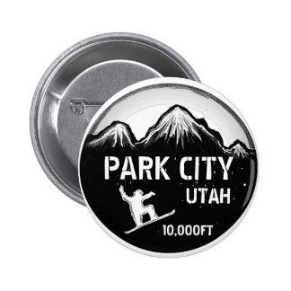 Park City Utah black white snowboard art button