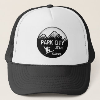 Park City Utah black white snowboard art hat