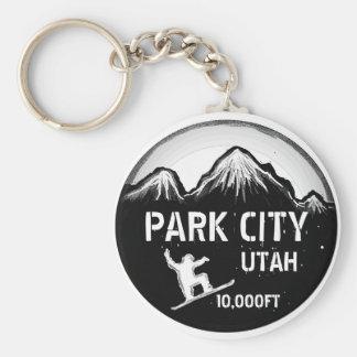 Park City Utah black white snowboard art keychain