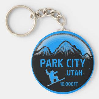 Park City Utah blue snowboard art keychain