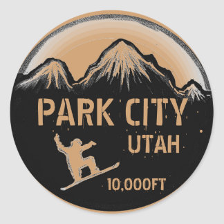 Park City Utah brown snowboard art stickers